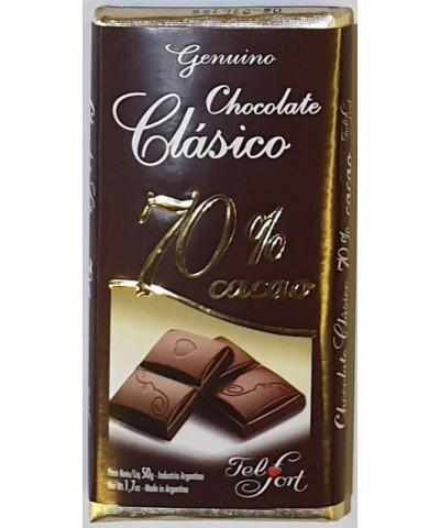 CHOCOLATE CLASICO FELFORT 50 GR 70% CACAO. POR UNIDAD