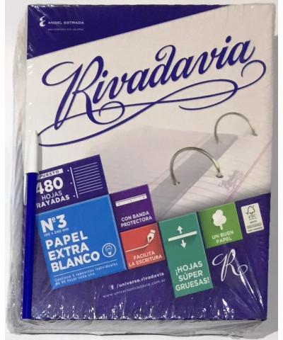 REPUESTO RIVADAVIA 480 HOJAS RAYA, EXTRA BLANCO