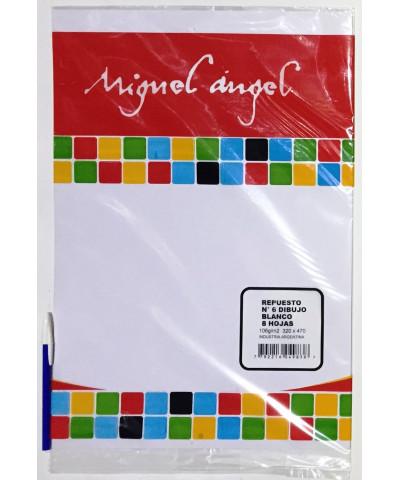 REPUESTO HOJAS DE DIBUJO N° 6 MIGUEL ANGEL BLANCO. 6 HOJAS