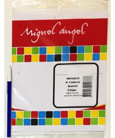 REPUESTO HOJAS DE DIBUJO MIGUEL ANGEL N° 3 BLANCO. X 8 HOJAS