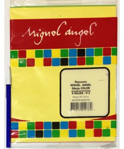REPUESTO HOJAS DE DIBUJO MIGUEL ANGEL N° 3 COLOR. X 8 HOJAS