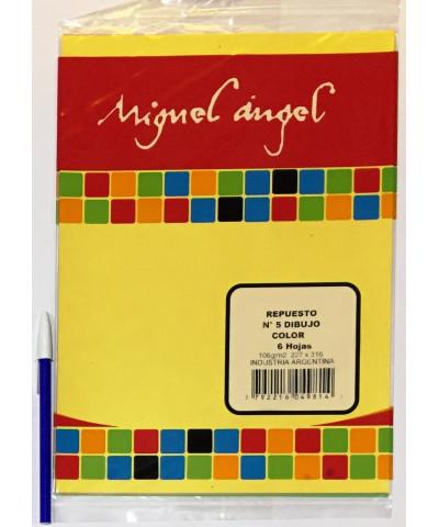 REPUESTO HOJAS DE DIBUJO MIGUEL ANGEL N° 5 COLOR