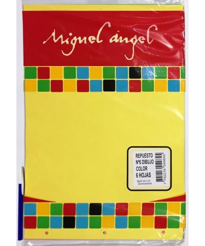 REPUESTO HOJAS DE DIBUJO N° 6 MIGUEL ANGEL A COLOR. 6 HOJAS