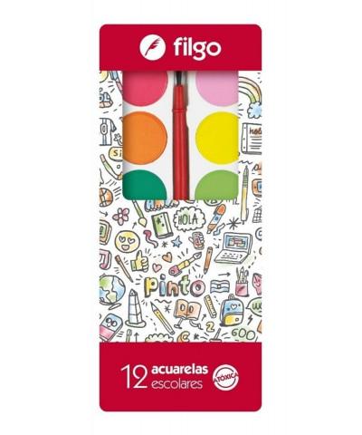 ACUARELAS FILGO C/PINCEL X12