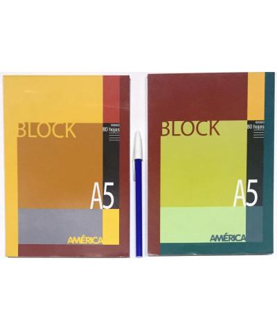 BLOCK AMERICA A5 80 HOJAS RAYA