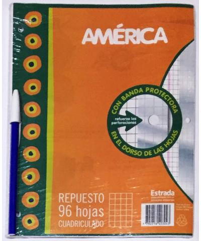 REPUESTO AMERICA 96 HOJAS CUADRO