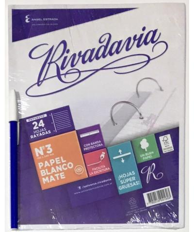 REPUESTO RIVADAVIA 24 HOJAS RAYA, CON BANDA