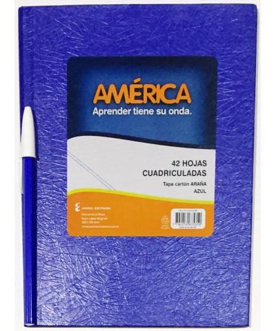 CUADERNO AMERICA TAPA DURA 42 HOJAS CUADRICULADO AZUL  /