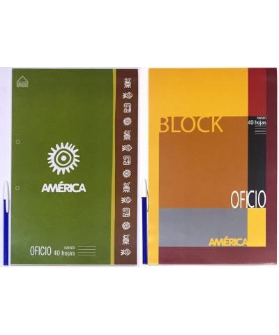 BLOCK AMERICA OFICIO 40 HOJAS RAYA